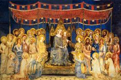 Maesta by Simone Martini c. 1315, fresco in the Council Chamber of the Palazzo Pubblico in Sienna, Italy