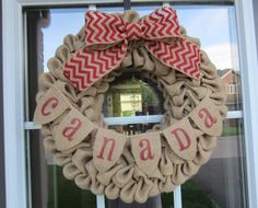 Canada Day Wreath Burlap bubble wreath with by willowbloomwreaths