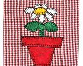 flower/spring applique tea towel