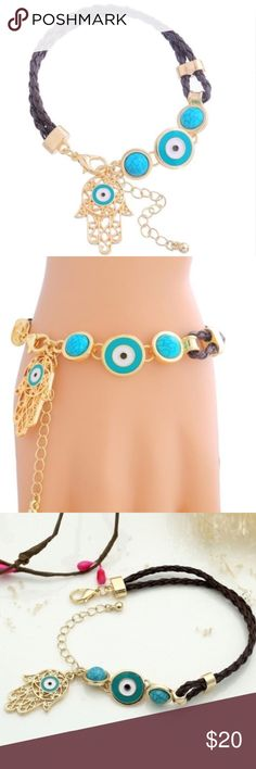 ⚡️⚡️Turkish Evil Eye Charm Kabbalah Hand Of Fatima Turkish Evil Eye Charm Kabbalah Hand Of Fatima - Lobster Clasp - Length 17.5cm With Extender 5.4cm - Item Is Brand New In Package  No Trades  I'm Always Willing To Consider Any Reasonable Offers Through The Offer Button Only Please And Don't Forget To Bundle Up And Save!!! Boutique Jewelry Bracelets