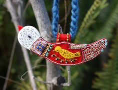 Necklace. Embroidered Bird.