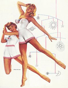 Skirts Ahoy! ~ Detail from 1952 Cole of California swim suit ad illustrated by Ren Wicks.