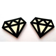 Diamond Jewelry | Black Graphic Diamond Earrings by DollyCool on Etsy