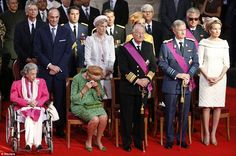 Belgian royals: Belgium's royal family Queen Fabiola, Queen Paola, King Albert II, Crown Prince Philippe and Crown Princess Mathilde (front row, L-R) attend a Te Deum mass celebrating the 20th anniversary of the reign of Belgium's King Albert II./Reuters