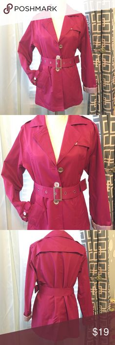 🌸Pink Trench Coat🌸 Very pretty pink trench coat with full lining. Belted. Cotton/Nylon blend. 😘 Odyn Jackets & Coats Trench Coats