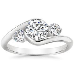 18K White Gold Cascade Three Stone Ring from Brilliant Earth