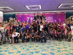 Participantes de la Master Class impartida por Merce Sebastia IHRSA 2015 Mercado Fitness México #kangoojumps #saltasaludable