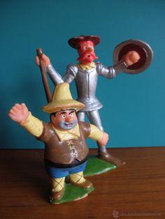 figura Sancho Panza y el Quijote en plástico Reamsa años 70