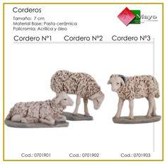 CORDEROS Nº1, Nº2 y Nº3. Figuras de belén/pesebre, de pasta cerámica policromada, de 7 cm. Autor José Luis Mayo Lebrija. Novedad 2014.