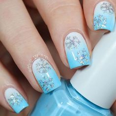 Create a classy winter manicure with these easy to use Snowflake Nail Decals. Two designs for 60 Snowflake nail decals total. by lucile Xmas Nails, Holiday Nails, Christmas Nails, Diy Nails, Christmas Holidays, Christmas Christmas, Christmas Ideas, Christmas Nail Art Designs, Winter Nail Designs