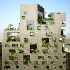 L'immeuble végétalisé Stone Garden, proche du quartier du port industriel de Beyrouth.