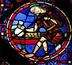 Rosace ouest de Notre Dame de Paris, vitrail de l'avarice