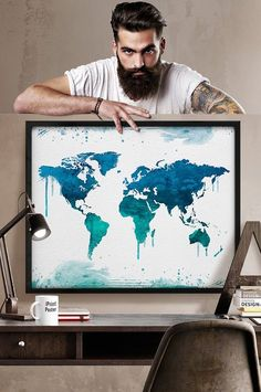 Weltkarte große Weltkarte Aquarell Weltkarte von iPrintPoster