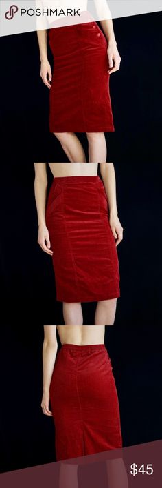 5a48a47f57 Red corduroy midi pencil skirt Red corduroy high waisted midi skirt with  side button detail and slanted front pockets. Imagine the outfits this  beautiful ...