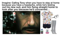 """""""Imagine: Calling Tony when you have to stay at home because you have a headache, while he's testing out his new suit, and him flying straight home to look after you because he's concerned…"""" by alyssaclair-winchester ❤ liked on Polyvore featuring Larke, Topshop, Falke, Kate Spade, imagine, Avengers, marvel, ironman and TonyStark"""
