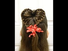Lace Braid Heart Ponytail Valentine's Day Half Updo Hairstyle Video.  ***In Spanish, but if you don't speak it, you can still follow her actions.