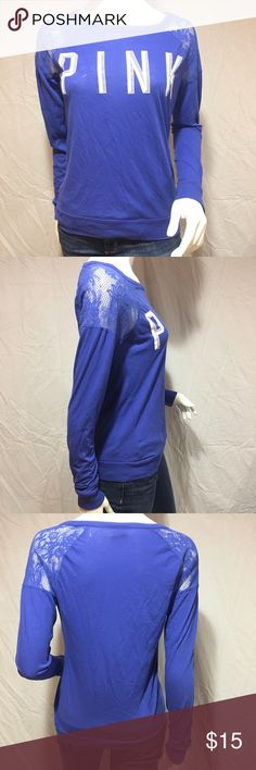 Long sleeve shirt with lace Cute blue/purple long sleeve shirt with lace on the shoulders. Says PINK on the front of the shirt in white writing. Has a relaxed fit. In great condition. Feel free to make me a reasonable offer  PINK Victoria's Secret Tops Tees - Long Sleeve