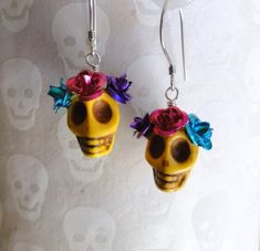 Your place to buy and sell all things handmade Cactus Earrings, Diy Earrings, Earrings Handmade, Handmade Jewelry, Diy Jewelry, Sugar Skull Jewelry, Sugar Skull Earrings, Skull Necklace, Halloween Earrings