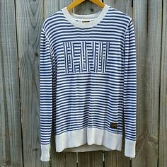 """G-Star White & Blue Striped """"RAW"""" Sweater (Unisex) Cozy sweater perfect for the fall. It would look great paired with leggings or dark skinny jeans. Lightly worn and small tear at neck line featured in photo 4. Women's large or men's S/M. G-Star Sweaters"""