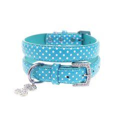 Blue Polka Dot Dog Collar / Diamante Bone Charm & Lead Set