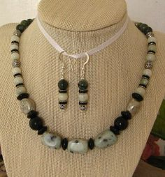 Sierra Jasper and New Jade necklace with matching by uniquebysuzy