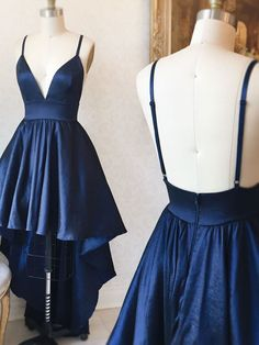 Cute V Neck Straps Navy Blue High Low Prom Dress Evening Dress