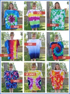 How to do all these Tie Dye Shirt Designs by Tweens