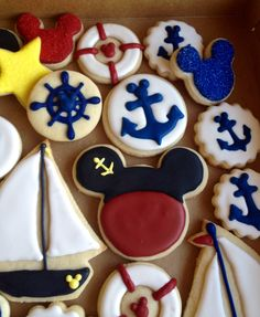Nautical Mickey Mouse royal icing cookies. Anchors where Royal Icing Transfers.  Cookies made by me Danika Hines