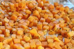 seasoned roasted butternut squash on pan