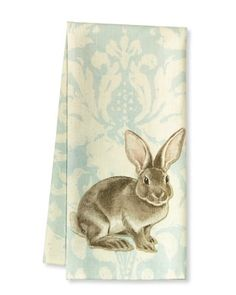 NEW WILLIAMS SONOMA SPRING EASTER BUNNY JACQUARD TWILL BLUE TOWELS SET OF 2