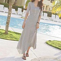 Jolly Club - Short-Sleeve Buttoned Maxi Dress