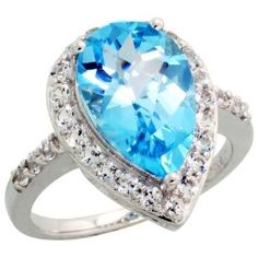 10k White Gold Pear-shaped Ring, w/ Brilliant Cut White Sapphire Stones & Pear Cut (14x9mm) Blue Topaz Stone, 3/4 in. (18mm) wide