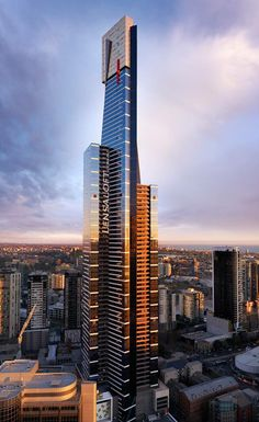 """Eureka, posing for a glamour portrait as we fly through the streets of Melbourne."" (Image via Lensaloft) High Building, Tower Building, Building Structure, Melbourne Architecture, Unique Architecture, Futuristic Architecture, Amazing Buildings, Modern Buildings, Eureka Tower"