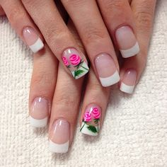 It's time to stop and smell the roses 😘🌹 Crazy Nail Art, Cute Nail Art, Crazy Nails, French Nail Designs, Gel Nail Designs, Nail Art Printer, Nails Now, Glamour Nails, Rose Nails