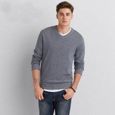 American Eagle Solid V-Neck Sweater, Men's, Black Sweater Hoodie, Men Sweater, American Eagle Outfitters, American Eagle Men, Fashion Advice, Fashion Styles, Mens Outfitters, Winter Sweaters, Winter Fashion