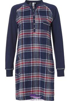 Dames pyjama s en nachthemden - Nightwear To Dream Of! Rebelle  bold trendy  checks  long sleeved red 87e431b21