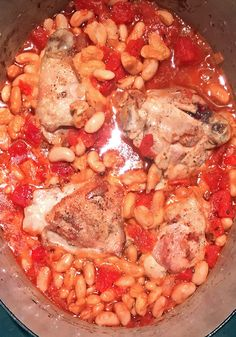Chicken stew with tomatoes and white beans.