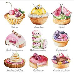 Explore Bath-based watercolor artist Enya Todd's fluid and expressive patisserie style illustrations Illustration Dessert, Illustration Noel, Raspberry Mousse, Raspberry Tarts, Cupcakes, Desserts Drawing, Chocolate Ganache Tart, Decoupage, Do It Yourself Food
