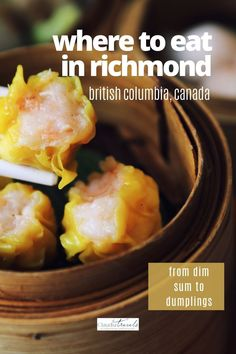 It's an East meets West Asian foodie feast in Richmond, a suburb just south of Vancouver, British Columbia. From dim sum to dumplings, we're sharing where to find the best Richmond restaurants for hungry foodies and families. Fairmont Vancouver, Vancouver Travel, Bbq Pork, Pork Roast, Indian Samosas, Richmond Restaurants, Hainanese Chicken, Ramen Bowl, Japanese Sushi