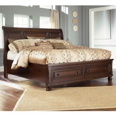 King Sleigh Bed with Storage   Nebraska Furniture Mart - this is the bed I want for our bedroom, it goes with our night stands!