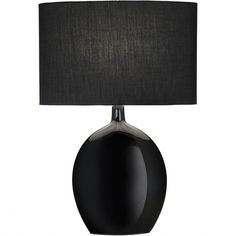 Astounding Black Porcelain Table Lamps With Black Canvas Drum Shade As... ❤ liked on Polyvore featuring home, lighting, table lamps, black shades, battery powered table lamps, black and white lamp, black and white table lamps and black table lamps