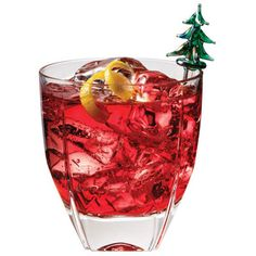 Tinsel PomPoms    4 oz Van Gogh Pineapple Vodka  4 oz PAMA Pomegranate Liqueur  Splash of lime juice    Combine, shake, and serve. Garnish with floating a few pomegranate seeds and/or cranberries.