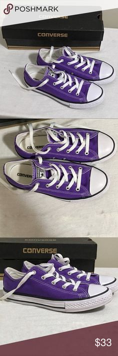 ✨ New Item✨ Like New Kids Purple Converse Like new kids purple converse size 3.  Only worn once as part of a costume. Clean interior and bottoms.  Difficult to find color.                 💵 Reasonable Offers Welcome 💰Bundle Discount 📦Ships in 1-2 days Converse Shoes Sneakers