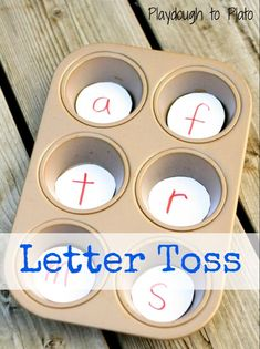 Letter Toss - Your child will build letter recognition skills by tossing a penny, pebble or other object into the muffin tin and naming the letter he or she has hit. Letter pieces can be exchanged for sight words for older children. Alphabet Activities, Literacy Activities, Language Activities, Toddler Activities, Emergent Literacy, Literacy Centres, Preschool Alphabet, Preschool Age, Alphabet Art
