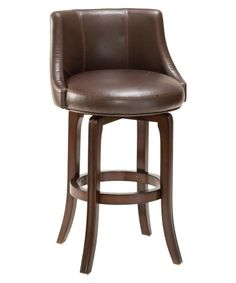 Hillsdale Napa Valley 30 in. Swivel Bar Stool - Brown Leather Seat - Bar Stools at Hayneedle