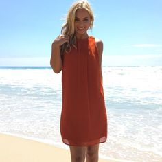 Hopeless Romantic Shift Dress In Rust