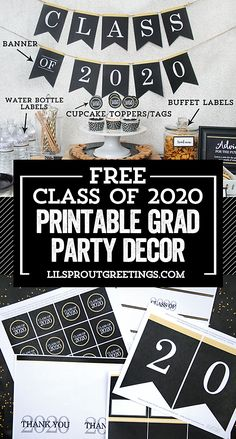 Free Class of 2020 Graduation Party Printable Decorations - Lil' Sprout Greetings Graduation Party Planning, Graduation Banner, Graduation Party Decor, Graduation Invitations, Grad Parties, Graduation Gifts, Graduation Quotes, Graduation Ideas, Grad Party Decorations