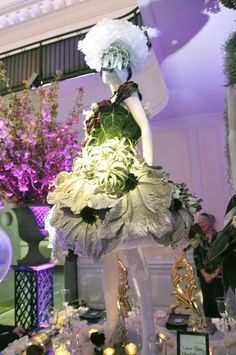 """Snapshots of the fashion-inspired centerpieces at the 2012 New York Flower Show Dinner Dance, reflecting this year's theme """"Couture en Fleur."""""""