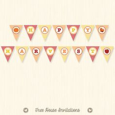 DIY Happy Harvest Banner  - Instant Download - Print Ready PDF File - ID 7070