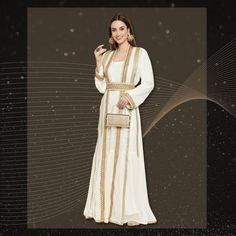 Feel like a princess in this exquisite Abaya Maxi Dress with golden lace work. Pair it with statement jewellery and matching accessories for a stunning ensemble. Product no: 8834